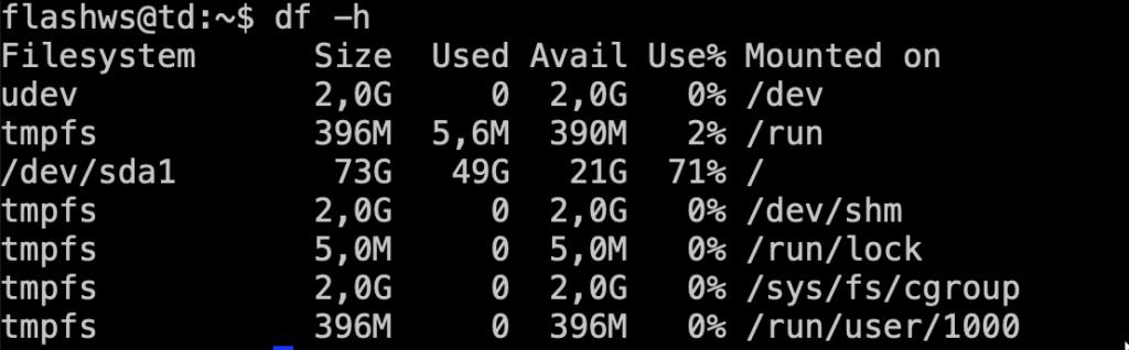 Как узнать размер свободного места на диске сервера с Ubuntu?