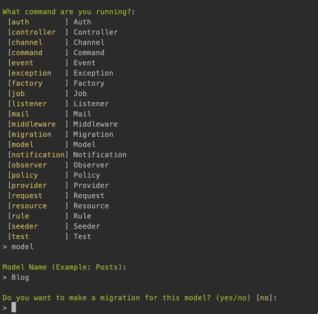 Увеличение скорости разработки проектов Laravel с помощью команды artisan make